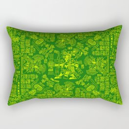 Mayan Spring GREEN / Ancient Mayan hieroglyphics mandala pattern Rectangular Pillow