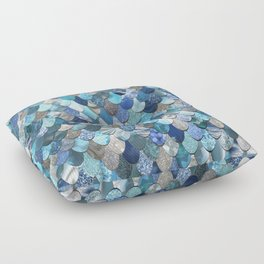 Mermaid Art, Ocean Blue Pattern Floor Pillow