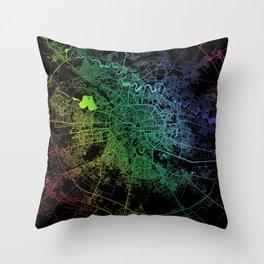 Bucharest, Romania, City, Map, Rainbow, Map, Art, Print Throw Pillow