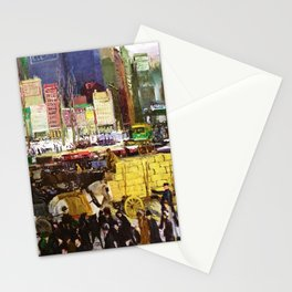 Bustling Big City New York landscape painting by George Wesley Bellows Stationery Cards