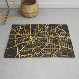DALLAS TEXAS GOLD ON BLACK CITY MAP Rug