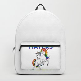 LGBT Gay Pride Cat Kitty Riding Unicorn Haters Gonna Hate Backpack