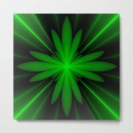 Neon Green Flower Fractal Metal Print