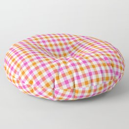 Pink Orange Summer Gingham Plaid Floor Pillow