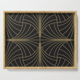 Diamond Series Inter Wave Gold on Charcoal Serving Tray