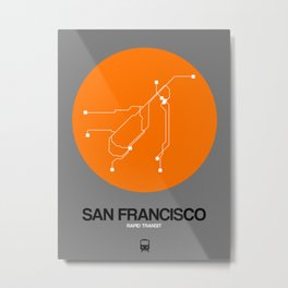 San Francisco Orange Subway Map Metal Print