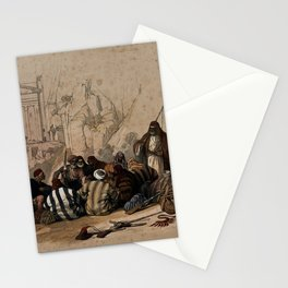 Vintage Print - The Holy Land, Vol 3 (1843) - Conference of Arabs at Wadi Moosa, Petra Stationery Cards
