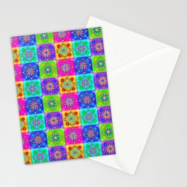 Boho Tapestry Tiles in India Silk Multi Stationery Cards