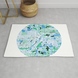 Minneapolis Minnesota Mosaic Map Rug