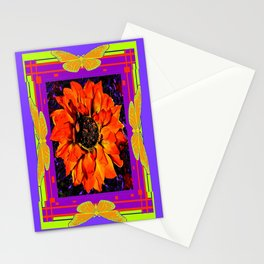 Orangey-Red Dahlia Butterly Lilac Pattern Stationery Cards