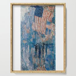 The Avenue In The Rain - Childe Hassam Serving Tray