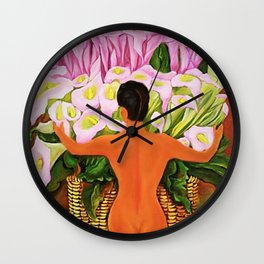 Nude with Calla Lilies by Diego Rivera Wall Clock