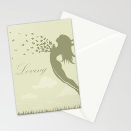 girl with butterflies in a jump Stationery Cards