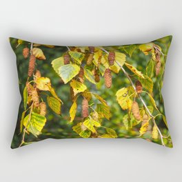 Autumn Leaves and Catkins Rectangular Pillow
