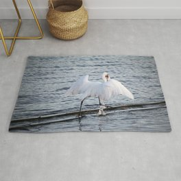 Egret On The Move With Supper Rug