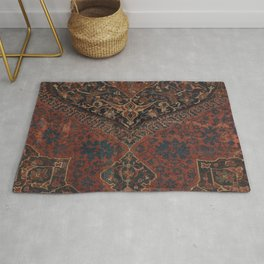 Boho Chic Dark VII // 17th Century Colorful Medallion Red Blue Green Brown Ornate Accent Rug Pattern Rug