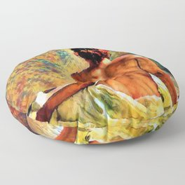 Reclining woman with the copper penny red hair still life painting Floor Pillow