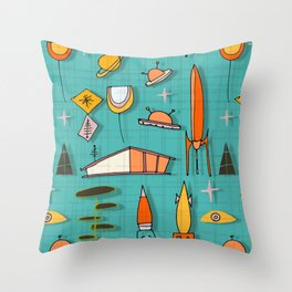 Space Age Blues #spaceage Throw Pillow