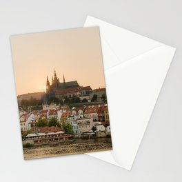 Prague Castle and Vltava river at sunset Stationery Cards