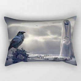 Beautiful Archaic Gothic Fantasy Statues Landscape Black Crow Ultra HD Rectangular Pillow