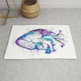Heart Anatomy Art Gift Colorful Blue Purple Watercolor Art Anatomy Art Anatomical Heart Doctor Gift Rug