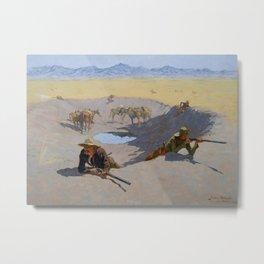 "Frederic Remington Western Art ""Fighting for the Waterhole"" Metal Print"