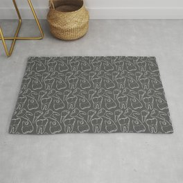 Teeth - White Line (Grey) Rug