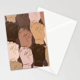 NO Racism ! Vector raised fists, power to the people, Vector seamless pattern Stationery Cards