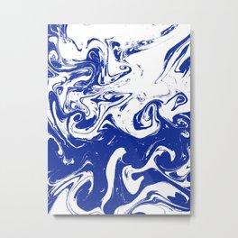Marble blue 4 Suminagashi watercolor pattern art pisces water wave ocean minimal design Metal Print
