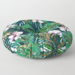 Tropical forest green lilac gold monster leaves floral Floor Pillow