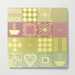 Colorful pink and mustard pattern . Metal Print