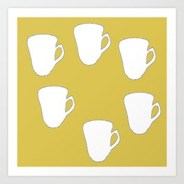 White silhouette cups on brown Art Print