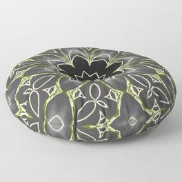 Gold & Green on Black Mosaic Tile Floor Pillow