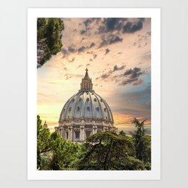 Ornate Dome of Saint Peters at Dusk Art Print
