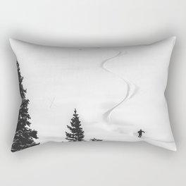 Backcountry Skier // Fresh Powder Snow Mountain Ski Landscape Black and White Photography Vibes Rectangular Pillow