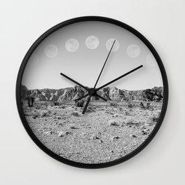 Desert Moon Ridge B&W // Summer Lunar Landscape Teal Sky Red Rock Canyon Rock Climbing Photography Wall Clock