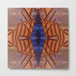 Mind's Eye Sapphire Leather Mandala Metal Print