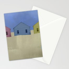 Beach Cottages, colorful houses, coastal, row houses Stationery Cards