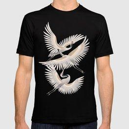 traditional Japanese cranes bright illustration T-shirt