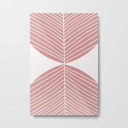 Soft Pink Minimal Fall Leaf Metal Print
