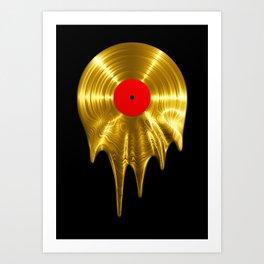 Melting vinyl GOLD / 3D render of gold vinyl record melting Kunstdrucke