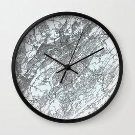 Birmingham, AL, USA, White, City, Map Wall Clock