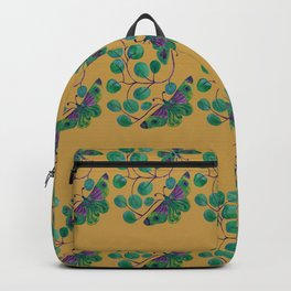 Butterfly pattern in turquoise and green with earthy background Backpack