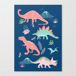 Jurassic Dinosaurs on Blue Canvas Print