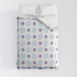 geometric flower 57 blue Comforters