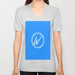 Monogram - Letter W on Dodger Blue Background Unisex V-Neck