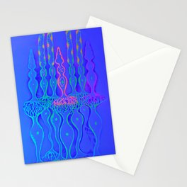 Cone cells rod cells and bipolar neurons in the retina, fluorescent drawing Stationery Cards