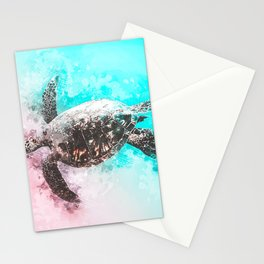 Sea Turtle Abstract Watercolor Painting Stationery Cards