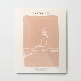 Byron Bay Lighthouse   Simple Line Art Drawing   East Coast, Australia  Metal Print