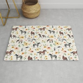 Horses and Flowers, Sunrise Floral, Cream, Horse Print, Horse Illustration, Pink and Yellow, Equestrian, Little Girls Rug
